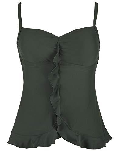 Mycoco Women's Flowy Swimsuit Top V Neck Tankini Top with Flyaway Skirted Hem Dark Green US 16