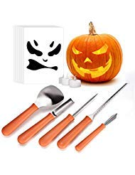 Pumpkin Carving Kit, iTrunk 5 Pieces Professional Stainless Steel Pumpkin Carving Tools, Premium Sculpting Tools with 10 Carving Stencils Perfect for Halloween Decoration ()