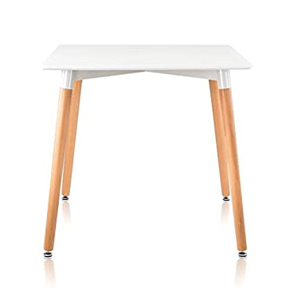 KIMCO® Furniture Eames Style Table with Natural Wood Legs Eiffel Dining Table (Dia60cm, Black)