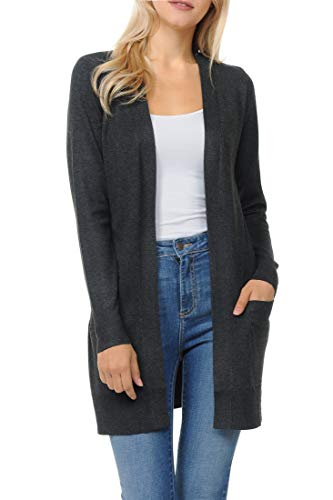 Womens Light Weight Open Front Long Cardigan with Pocket (X-Large, Charcoal)