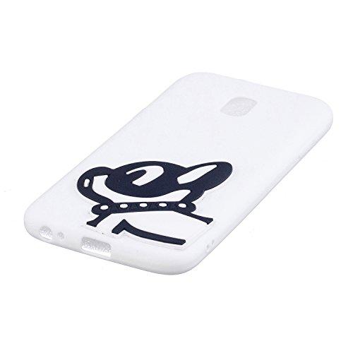 Samsung Galaxy J3 Pro 2017 Conejo Funda, Vandot Fashion 3D Lovely Cartoon Buck Teeth Bunny Rabbit Rubber Series Soft Silicone Back Case Cover para Samsung Galaxy J3 Pro (2017) J330 Case, Protección Si 3D 08