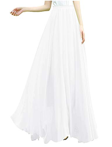 v28 Women Full/Ankle Length Elastic Retro Maxi Chiffon Long Skirt (4X,White)