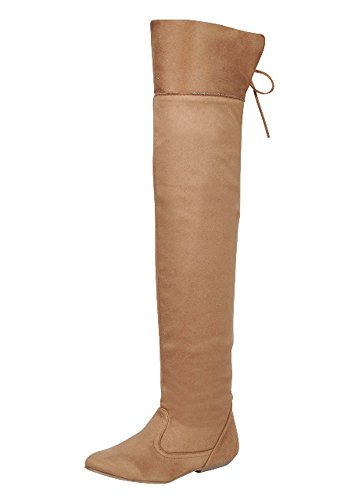 FOREVER LINK TAMMY-58 Womens Hot Fashion Stylish Pull On Knee High Casual Boots Tan Xo5qaxk