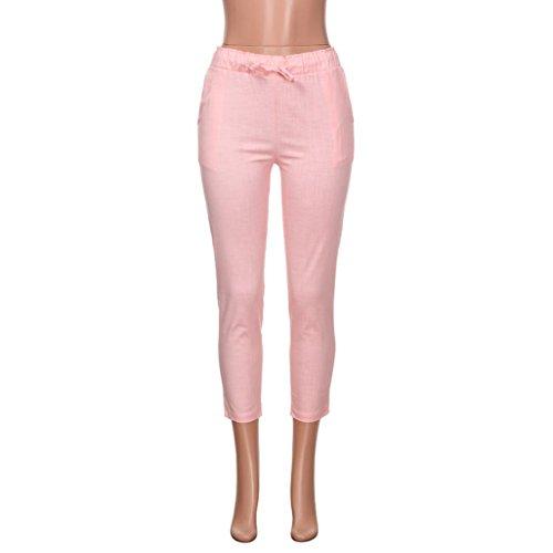 Fiocco Pantaloni Vita Jeans Skinny Somesun pantaloni Con Dolce Rosa Nove Strisce E Donna Da Righe Moda A Alta 71aF5aW8X