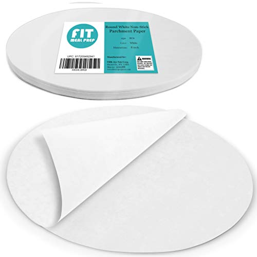 [250 Pack] 8 Inches Non-Stick Parchment Paper - Round White Baking Sheets, Wax Paper Liners for Cake Pan, for Steamer, Fryer and Oven, for Cakes, Cheesecakes, Pizza, Cookies, Meats and Vegetables
