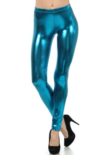 Sakkas Footless Liquid Wet Look Shiny Metallic Stretch Leggings - Made In USA