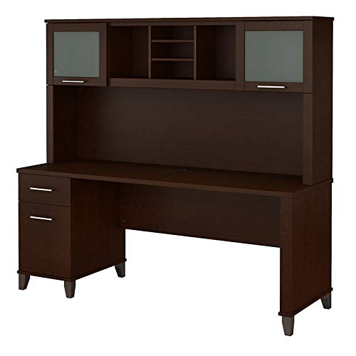 Bush Furniture Somerset 72W Office Desk with Hutch in Mocha Cherry