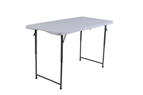 Iceberg 67243 Height Adjustable Bi-Fold Utility Table, 4', Platinum (4 Table Adjustable Leg Height)
