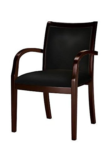 Wood Mayline Mercado - Mayline VSC7ABMAH Mercado Series Ladder-Back Wood Guest Chair, Mahogany/Black Leather