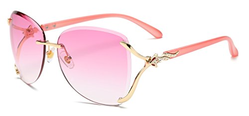 Lens Rimless Sunglasses Shades - VOLCHINE Women Shades Sunglasses For Women Rimless diamond Sunglass 100% UV Protection Eyewear VC1012 (Pink Lens/Pink Arm)