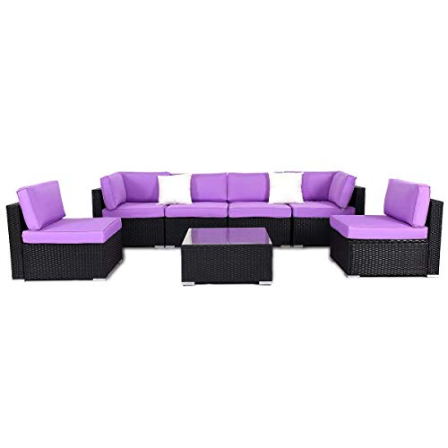 Giantex 7 PC Outdoor Patio PE Rattan Wicker Sofa Sectional Furniture Set Purple Cushion, 2 Pillows Tempered Glass Top Tea Table, Backyard Patio Garden Sofa Set No-Slip Foot Design