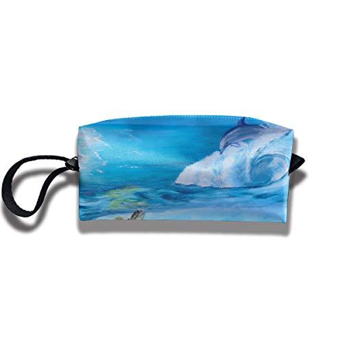 Ministoeb Portable Pen Bag Purse Storage Marine Organism Dolphin Sea Tortoise Women Pouch Handbag Cosmetic Toiletry Clutch Bag Make-up Receive Bag