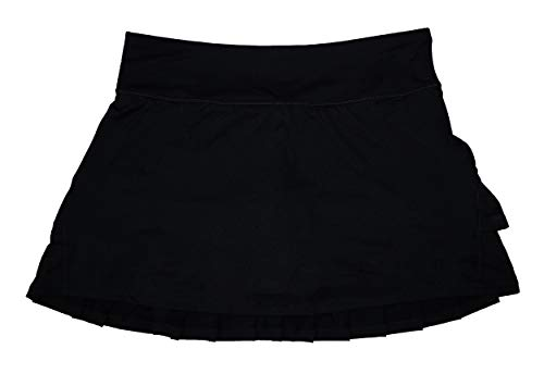 Ideology Women's Performance Solid Color Tiered Tennis Skirt (Noir, XX-Large) ()