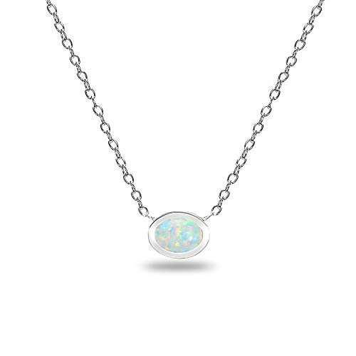 Sterling Silver Polished Simulated White Opal Oval Minimalist Dainty Necklace