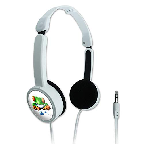 GRAPHICS & MORE Rainforest Red Eyed Tree Frog and Ant Novelty Travel Portable On-Ear Foldable Headphones