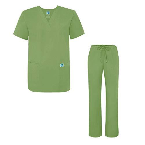 Maglia E asparagus Camice Set Verde Pantaloni Medica Uniforme Uniformi Unisex Con Adar f07Fq