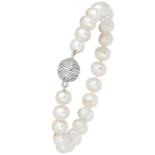 Emall supply bracelet old perles d'eau douce 8 mm en argent sterling 925 serti de zircones pour femme 20 cm