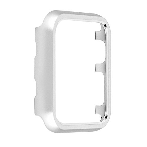 Angeland Metal Protective Smartwatch Bumper 38mm, Matte Finish Aluminum Alloy Frame Cover Case Compatible with Apple Watch 38mm Series 3, Series 2, Series 1 - Silver