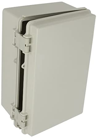 "BUD Industries NBF-32016 Plastic ABS NEMA INDOOR USE Box with Solid Door, 11-51/64"" Length x 7-55/64"" Width x 5-7/64"" Height, Light Gray Finish"