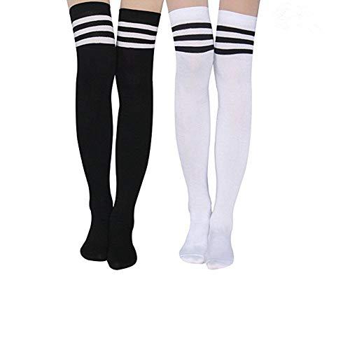 Aispark Womens Knee High Socks Girls Long Striped Over the Knee Thigh High Stockings Cosplay Socks (Black&White)]()