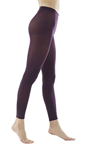Women's 80Denier Semi Opaque Solid Color Footless Pantyhose Tights 2pair or 6pair (X-Large, Dark Purple) ()
