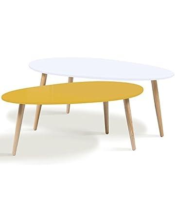 IDMarket - Lot de 2 Tables Basses gigognes laquées Jaune Blanc scandinave ccfc6066cae9
