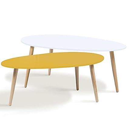 Table Basse Scandinave Gigogne.Idmarket Lot De 2 Tables Basses Gigognes Laquees Jaune Blanc Scandinave