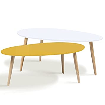Idmarket Lot De 2 Tables Basses Gigognes Laquees Jaune Blanc