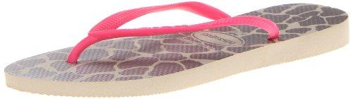 Havaianas Women's Slim Animals Fluo Flip Flop Sandal,Sand Grey/Pink, 39/40 BR(9-10 M US Women's / 8 M US Men's)