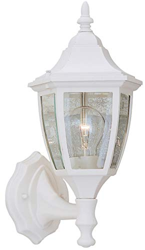 Designers Fountain 2462-WH Builder Cast Aluminum Collection 1-Light Exterior Wall Lantern, White Finish with Clear Beveled Glass Cast Aluminum One Light
