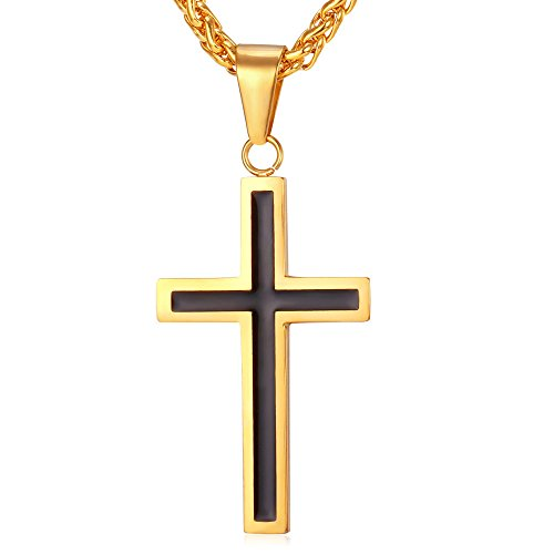 U7 Black Enamel Stainless Steel Gold Plated Cross Necklace & Pendant