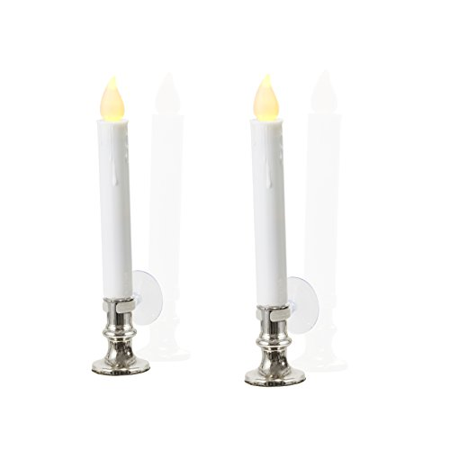 Flameless White LED Taper Candles with Silver Removable Candle Holders, Remote & Batteries Included - Set of 8 by LampLust (Image #3)