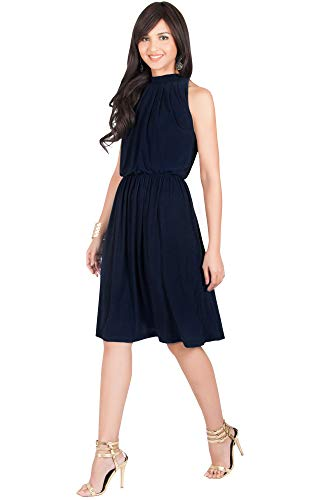 KOH KOH Womens Sleeveless Bridesmaid Halter Neck Flowy Wedding Party Work Knee Length Day Formal Dressy Summer Casual Sexy Sundress Mini Midi Dress Dresses, Dark Navy Blue L 12-14