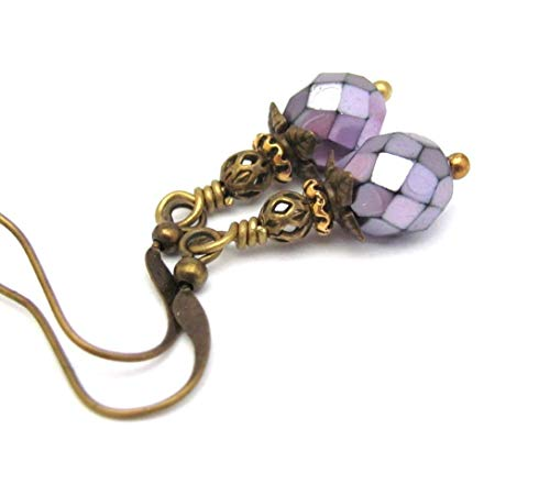 Purple Earrings Bohemian Boho Dangle Drop Neo Victorian Design Artisan Petite Jewelry