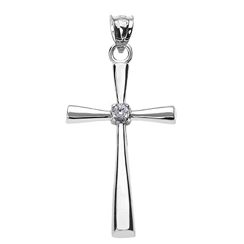 Solitaire Diamond Cross Pendant in 10k White Gold