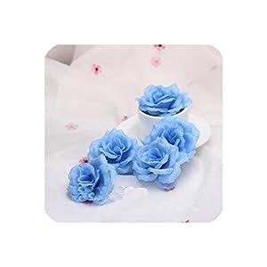 Lotus leaf fragrance 10pcs 8cm Gold Artificial Rose Silk Flower Heads Decorative Flowers for Wedding Home Party Banquet Decoration,Light Blue 1