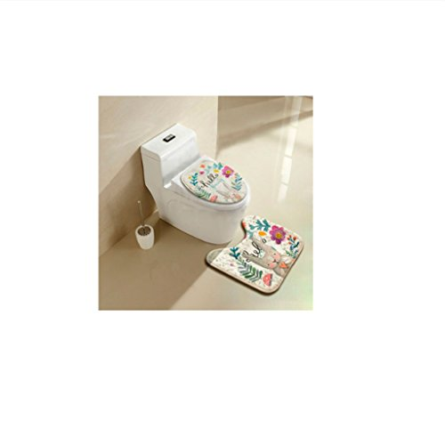 Contour Rug Square (Yumian Bathroom Toilet Seat Cover Rug Set, Cute Rabbit Pattern No Slip U-shaped Contour Rug Toilet Floor Pedestal Mat U-Shaped Bath Pedestal Mat Anti-Slip Pat Home Bathroom Decoration (Spring))