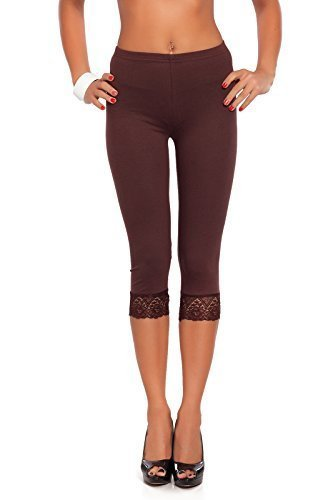 FUTURO FASHION Cropped 3/4 Lenght Cotton Leggings with Lace PT-L-MDLCE01
