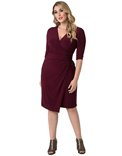 Kiyonna Women's Plus Size Vixen Cocktail Dress 1X Pinot Noir