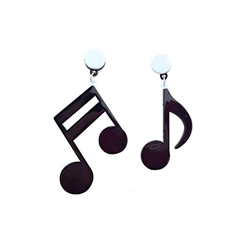 (Big Acrylic Punk style music note drop dangle earrings musical jewelry for women hip hop - Black)