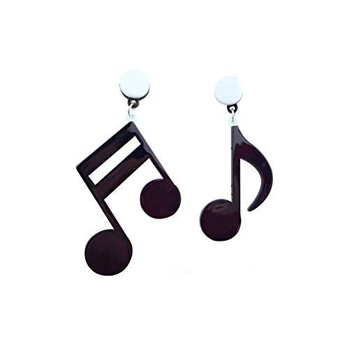 Big Acrylic Punk style music note drop dangle earrings musical jewelry for women hip hop - Black