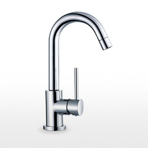 Blu Bathworks TSP120 pure•1 single-hole deck-mounted basin mixer with goose-neck swiveling spout