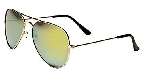 Mirozi Unisex Classic Mirrored Aviator 52MM Sunglasses (Gold Framed, Yellow / Green - Avaitor Sunglasses