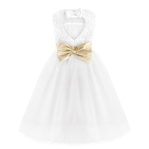 - MSemis Flower Girl Lace Dress Heart Back Wedding Party Formal Communion Dresses Ball Gown White with Satin Bowknot 2