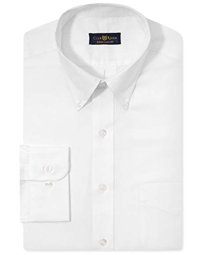Club Room Mens Pinpoint Button-Down Dress Shirt White 17 1/2 (Fit Pinpoint Shirt Dress)