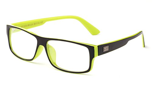 Newbee Fashion - Kayden Retro Unisex Plastic Fashion Clear Lens Glasses Black/Lime