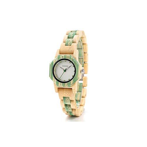 新しいクォーツ時計女性用天然竹時計ケース用女性ブランド用木製ケースグリーン