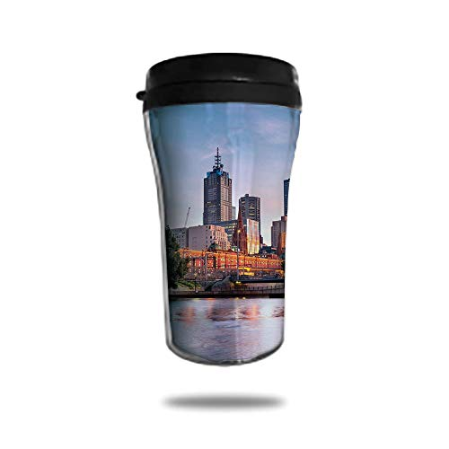 Travel Coffee Mug 3D Printed Portable Vacuum Cup,Insulated Tea Cup Water Bottle Tumblers for Drinking with Lid 8.45 OZ(250 ml)by,City,Early Morning Scenery in Melbourne Australia Famous Yarra River Sc