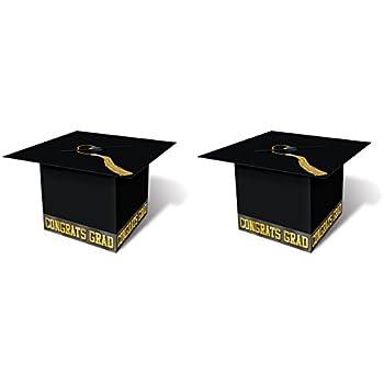 Amazon Com Beistle S57393az2 Grad Cap Card Box Black Gold Kitchen