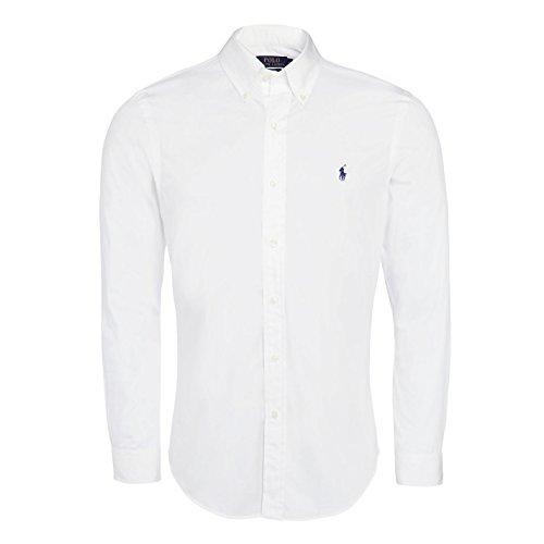 Polo Ralph Lauren Mens Solid Poplin Sport Shirt (XL, White)